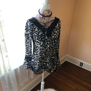 Lace Cheetah Blouse Small